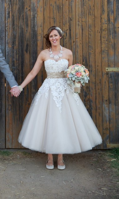 Strapless Two Tone Tulle Tea Length Wedding Dress Ruched Waistline Lique Grace Loves Lace Y