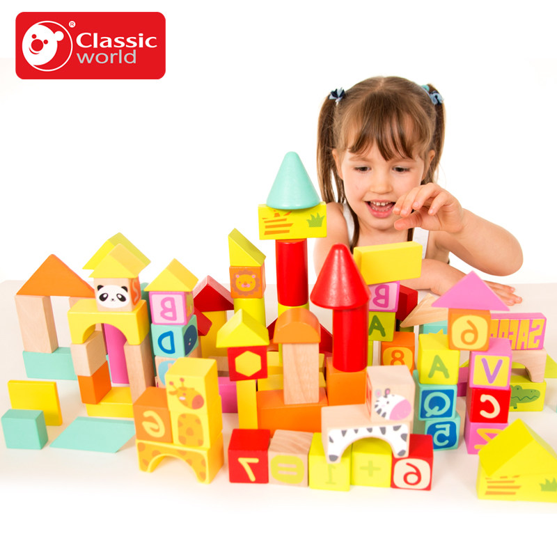 Classic World 100pcs wooden Color Building Blocks Children's Toy For Color & Shape Identification Exerciseand classic world транспорт