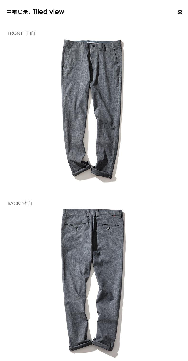 QZHIHE Men's Cotton Straight Slim Suit Pants Adult Male Mid Waist Elastic Trousers Office Wear Ankle-length Pants 70128 18