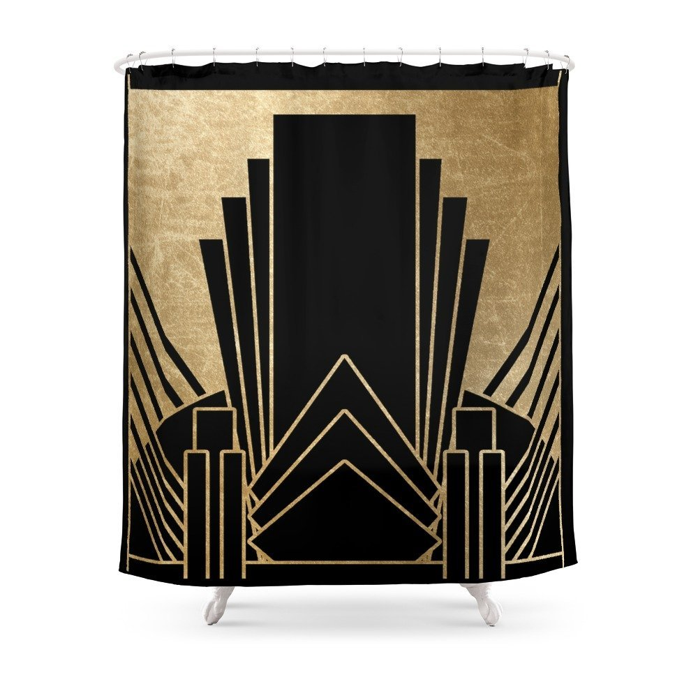 Art Deco Design Shower Curtain Polyester Fabric Bathroom