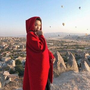 Image 5 - Mingjiebihuo 플러스 크기 기질 숙녀 고품질 뜨다 편안한 따뜻한 두꺼운 스카프 여성 술 연예인 스타일 판쵸