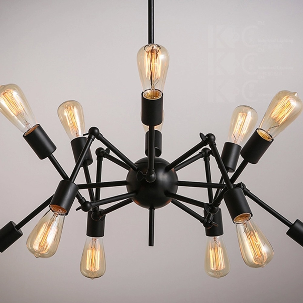 Nordic industrial loft spider design e27 edison chandelier cafe bar nordic industrial loft spider design e27 edison chandelier cafe bar light fixture adjustable iron lamp decoration art lights in chandeliers from lights arubaitofo Choice Image
