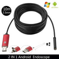 Haute qualité 5.5MM USB endoscope Android caméra 1/2/5/10m flexible serpent tube détection SmartPhone OTG endoscope caméra 6LED