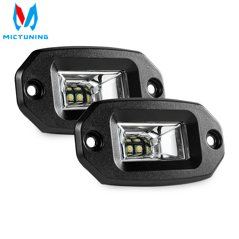MICTUNING 2pcs 20W LED Work Light Bar Flush Mount LED Flood Offroad Driving Auto Fog Lamp for 4x4 J-eep ATV UTV SUV Truck Boat