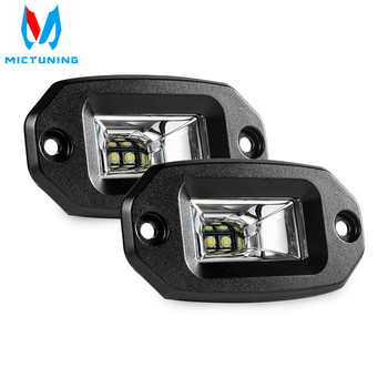 цена на MICTUNING 2pcs 20W LED Work Light Bar Flush Mount LED Flood Offroad Driving Auto Fog Lamp for 4x4 J-eep ATV UTV SUV Truck Boat