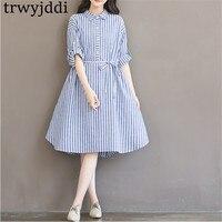 Plus Size Maternity Women Clothing 2018 Spring Cotton Linen Striped Thin Long shirt Dress 5XL Pregnancy Femme Vestidos hl496