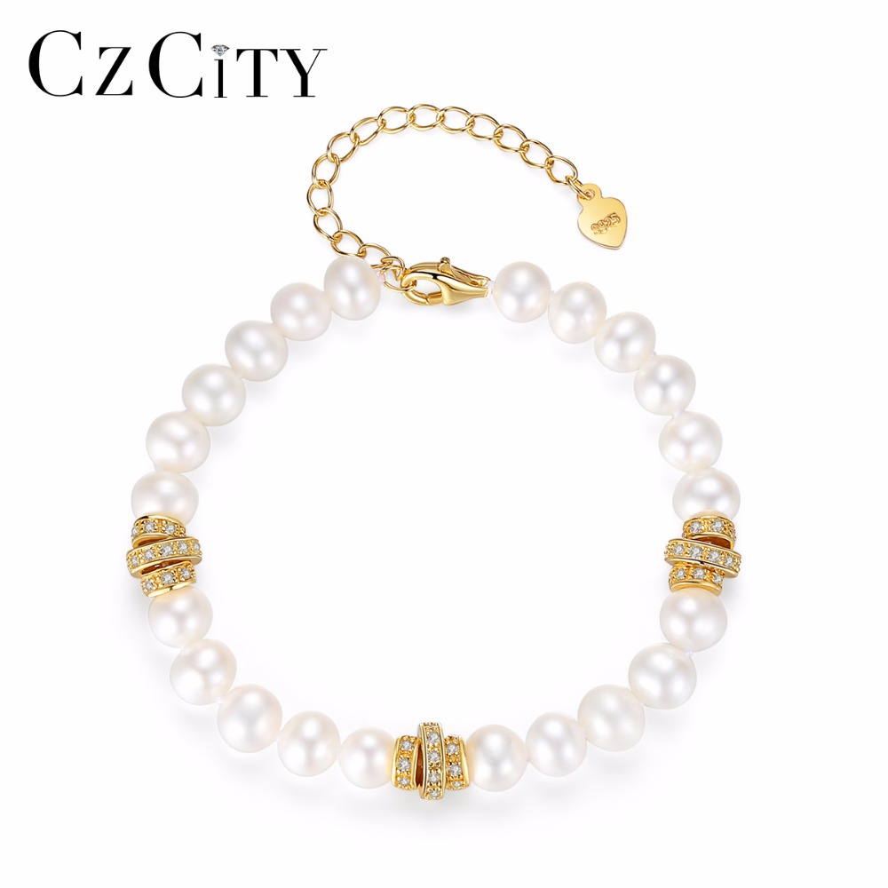 CZCITY Brand Charms Romantic White Pearls Women Bracelets & Bangles 925 Sterling Silver Parts Pearl Female Chain Link Bracelet free shipping imitation pearls chain flatback resin material half pearls chain many styles to choose one roll per lot