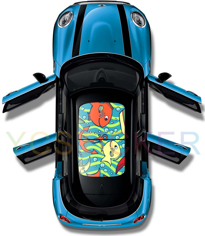 heat protection 3d cartoon fish graphics car roof pvc sticker uv-proof panoramic roof sticker car sunroof self adhesive film partol black car roof rack cross bars roof luggage carrier cargo boxes bike rack 45kg 100lbs for honda pilot 2013 2014 2015