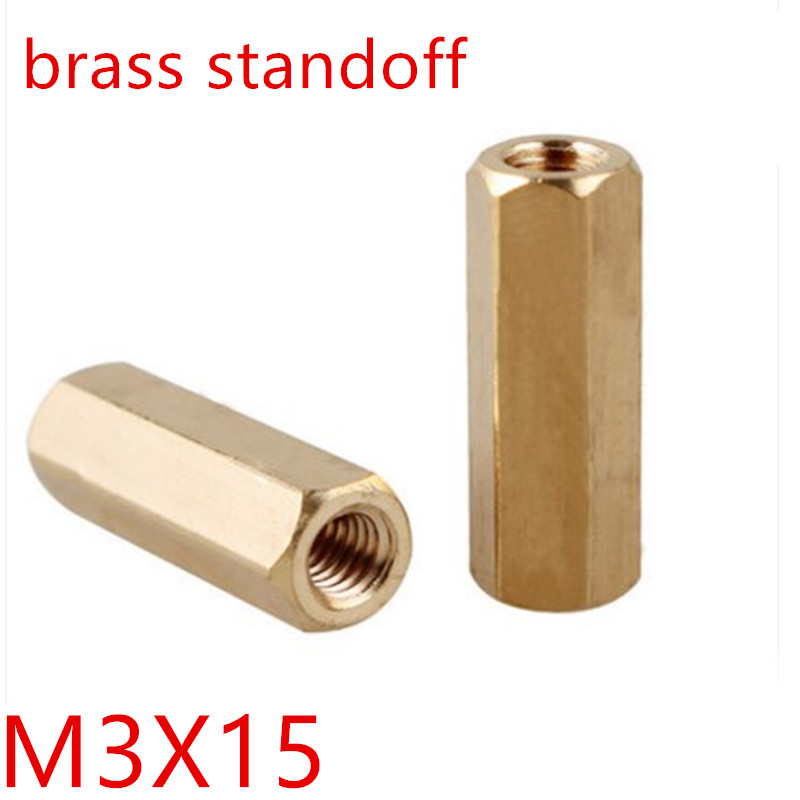 20pcs/lot <font><b>M3</b></font>*15 <font><b>m3</b></font> x <font><b>15mm</b></font> Female Female Thread Brass Standoff Spacer Spacing Screws Hex Brass Threaded Spacer image