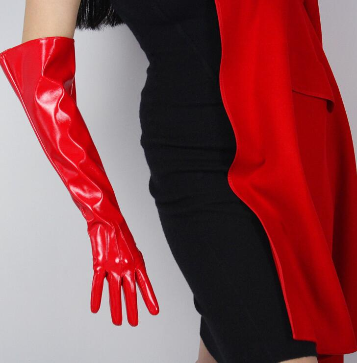 Women's Faux Pu Leather Wide Sleeve Long Gloves Female Patent Red Color Leather Gloves 50cm R1559