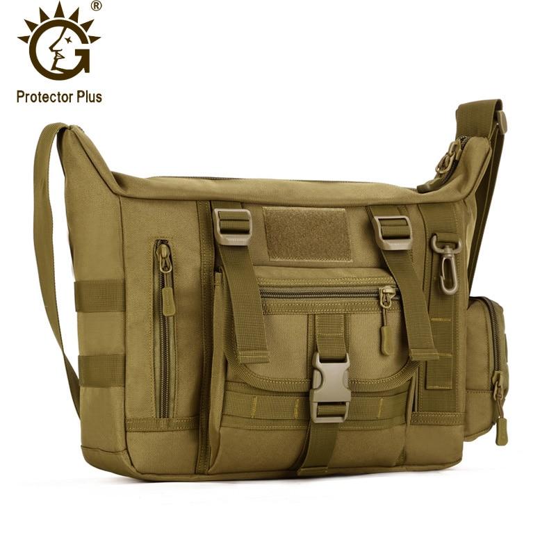 Protector Plus 14inch Laptop, Waterproof Military Tactical Crossbody Bag, Men's Messenger Bag, Outdoor Travel Sling Shoulder Bag rst bc2008 cycling bicycle carbon fiber water bottle holder black
