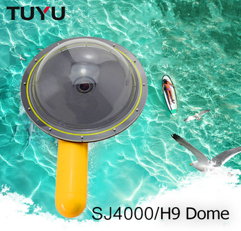 цена на TUYU Waterproof Dome Port Cover for GoPro Hero 5 6 4 session EKEN h9 h6s h5s sj4000 dome for xiaomi yi 4k Camera waterproof Dome