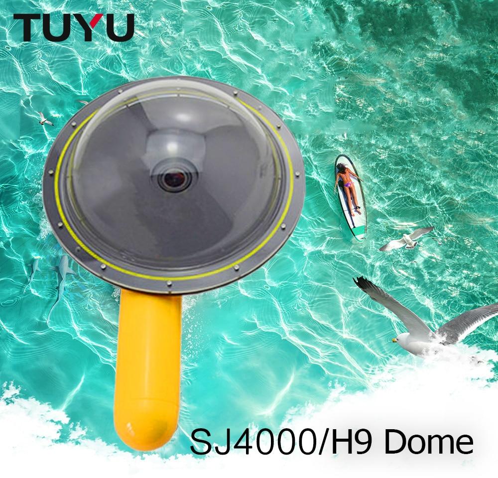 Tüketici Elektroniği'ten Spor Kamera Kılıfları'de TUYU su geçirmez Dome Port kapak GoPro Hero 5 6 4 oturumu EKEN h9 h6s h5s sj4000 kubbe xiaomi yi 4k kamera su geçirmez Dome title=