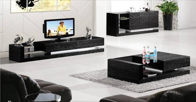 Black Wood House Furniture 3 Piece Set Coffee Tabletv Cabinet And