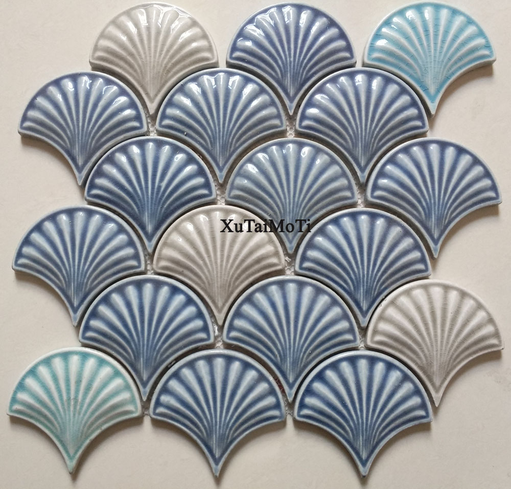 hot blue fish scale ceramic mosaic tile kitchen backsplash bathroom wallpaper pool wall tiles shower fan porcelain decoration