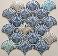 hot blue fish scale ceramic mosaic tile kitchen backsplash bathroom wallpaper pool wall tiles shower fan porcelain decoration