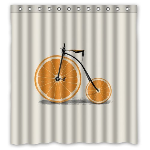 Vixm Custom Orange Bicycle Shower Curtain Stylish Waterproof Polyester Fabric Bathroom Deco 66 X 72 In Curtains From Home Garden On