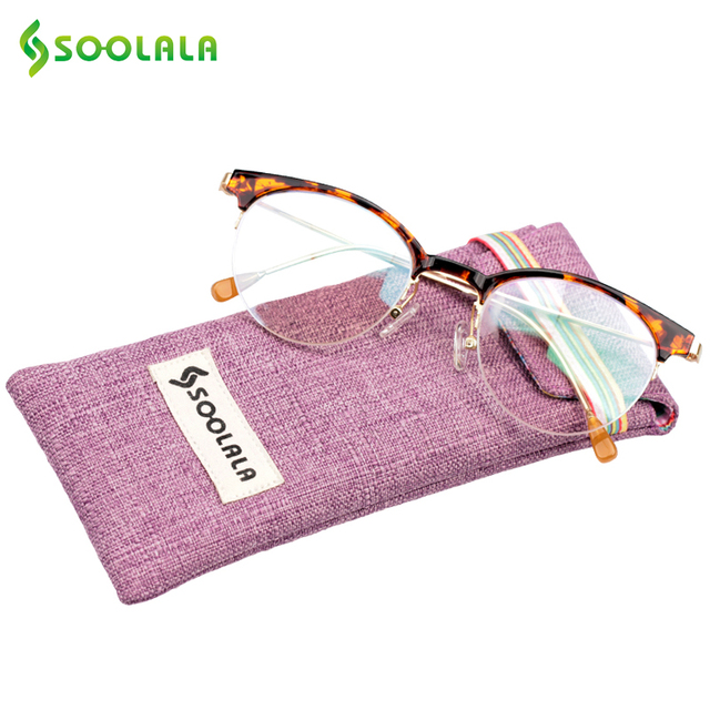 550adb48f1 SOOLALA Semi-rimless Cat Eye Reading Glasses Women Men +1.0 1.25 1.5 1.75  2.0 2.25 2.5 2.75 3.0 3.5 4.0 4.5 5.0 Eyeglasses