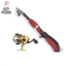 DEEP PASSION Mini Sea Fishing Rod Pole Reel Set Spinning Ocean Ice Fishing Rods Spool Peche Carp Tackle Saltwater Telescopic Rod