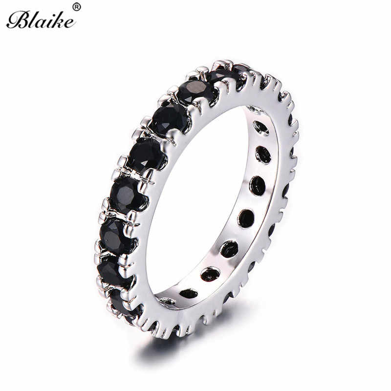 Blaike Single Row Full Black Cubic Zirconia Finger Ring Women 925 Sterling Silver Filled AAA Stones Circle Rings Round Jewelry
