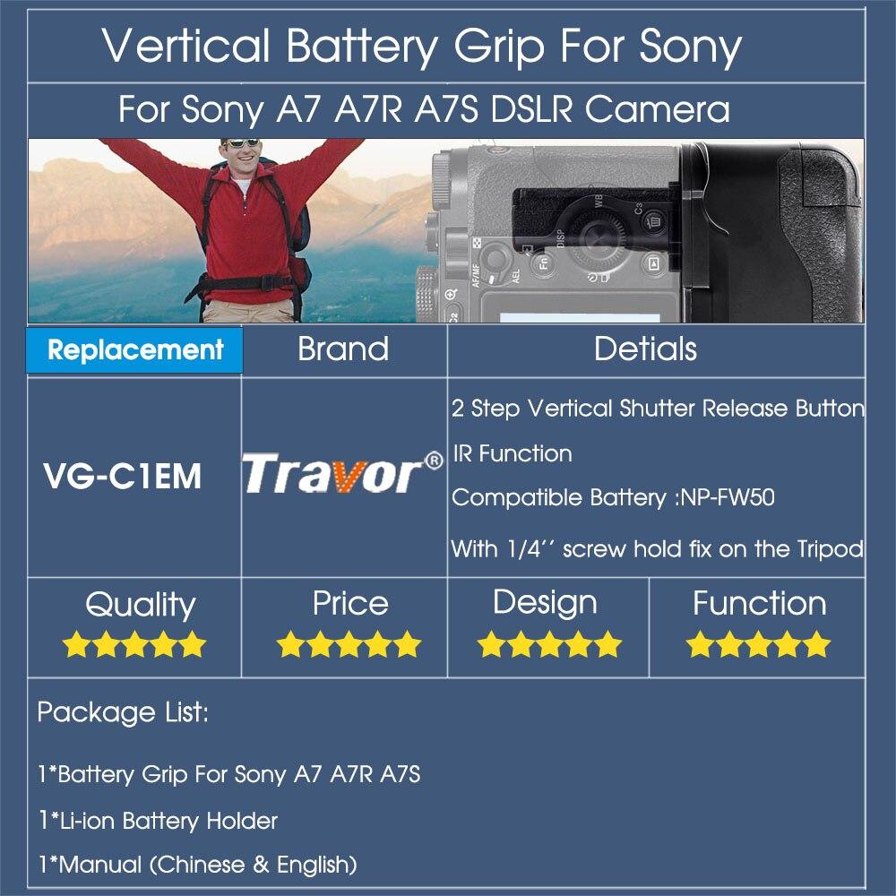 Poignée de batterie verticale Travor pour appareil photo sans miroir Sony A7 A7R A7S avec fonction IR fonctionne avec une batterie NP-FW50 comme VG-C1EM - 6