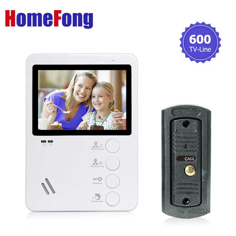 Homefong Video Doorbell System Door Intercom Phone 4.3  Inch Weatherproof Night Vision Outdoor Camera And Indoor Monitor Unit 7inch video door phone intercom system for 5apartment tft lcd screen 5 flat indoor monitor with night vision cmos outdoor camera