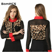 BomHCS Sexy New Leopard Splicing Shirt Stand Collar Chiffon Tops Long Sleeve Casual Blouse F1127CXT1(China)