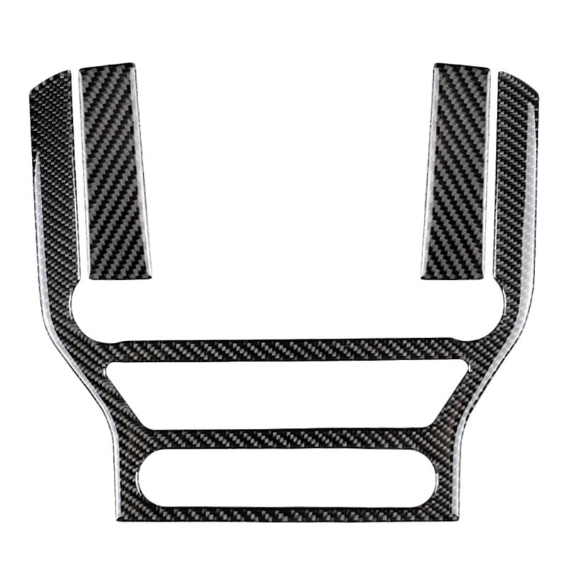 Autocollant de garniture de panneau de Cd de climatisation de contrôle Central de Fiber de carbone adapté pour Ford Mustang 2015-2017