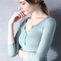 Seksowna koszulka damska wiosna i jesień Głębokie V collar przycisk siedem rękawy t-shirt lady Casual różowy Tee Koszulka crop top sg27262