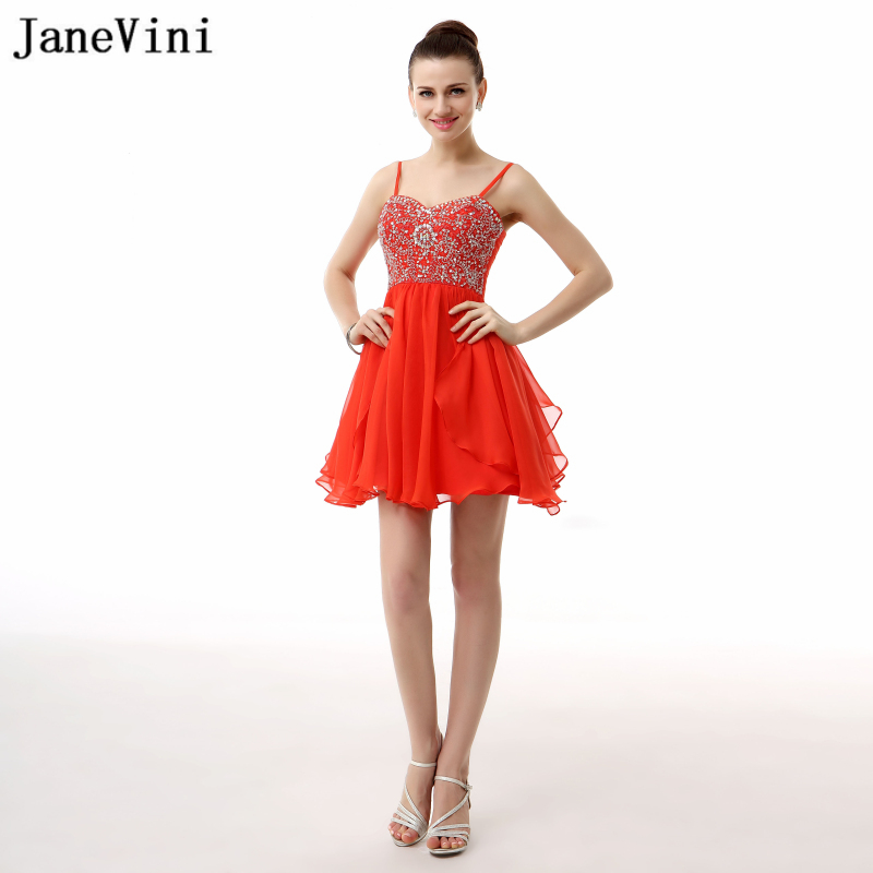 JaneVini 2018 A Line Red Short   Bridesmaid     Dresses   Spaghetti Straps Mini Chiffon Prom   Dress   with Beading Backless Prom Party Wear