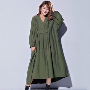 Image 2 - CHICEVER 2020 sonbahar elbiseler büyük boyutları V boyun uzun kollu gevşek büyük boy Midi elbise kadın nedensel elbise yeni