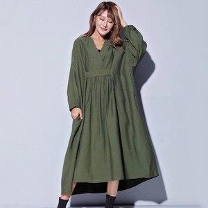 Image 2 - Vestido midi feminino, vestido midi tamanho grande gola v manga comprida solto roupas casuais para outono 2020