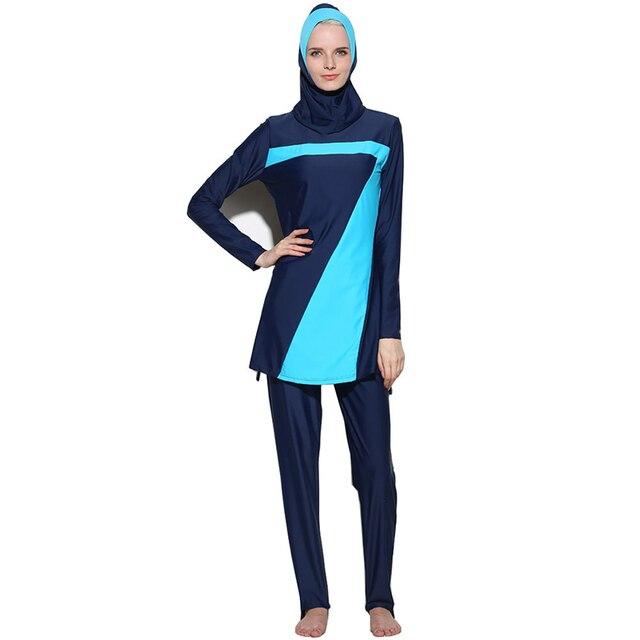 0ca19e3608 2019 new muslim swimsuit stripes modest arab islamic swimwear women girls  full covered burkinis print hijab muslim