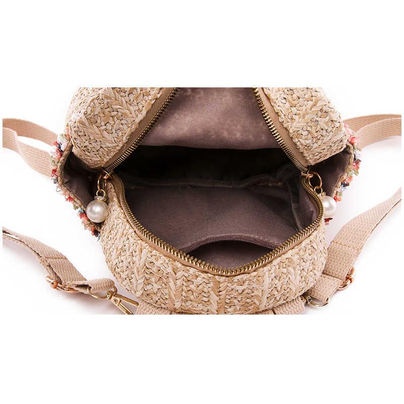 Соломенный рюкзак женщины сумка маленькая Мода полосой Тканные рюкзаки мини рюкзак для девочек, рюкзак для подростков молодежный рюкзак в национальном стиле 2019