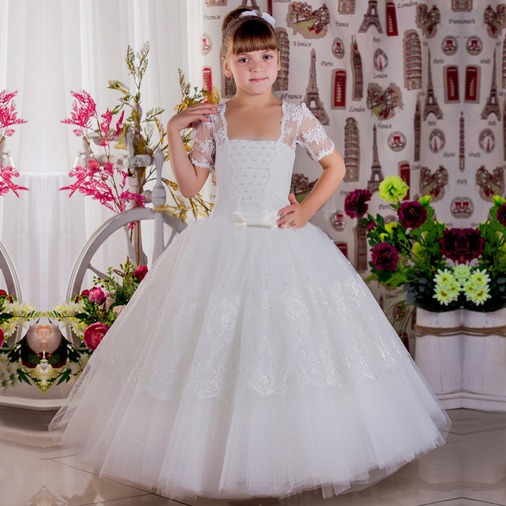 2017 New Hot Flower Girl Dresses Lace Up Half Sleeves Bow Ball Gown Formal Pageant Communion Gowns Vestidos Longo Custom Made pageant dresses for girl flowers o neck lace up bow sash sleeveless ball gown vestidos longo custom made first communion gown