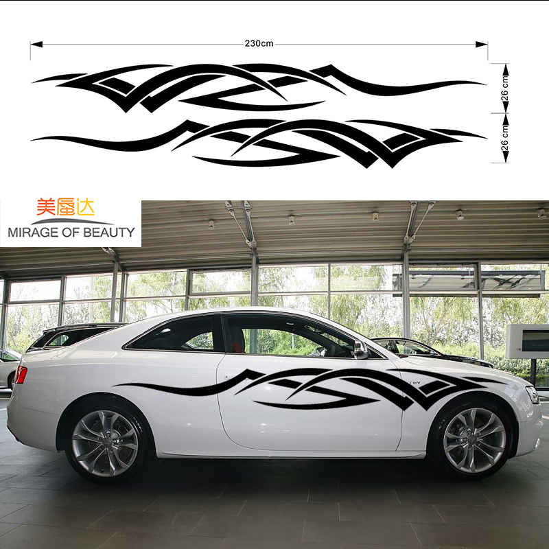 2x Dynamic Movement Hand Carved Car Sticker for Racing Fashion Sports Car Motorhome Cara ...