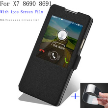 Luxury For Coolpad Great God X7 8690 8691 Case Cover Flip PU Leather Smart View Window Shell X 7 Phone Holster case