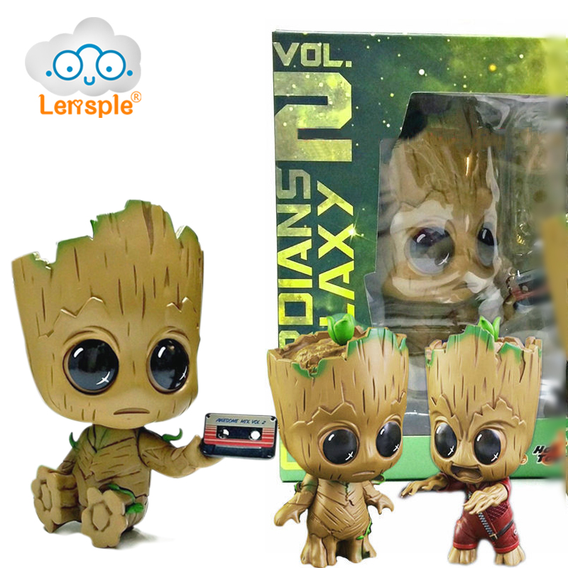 Lensple 8cm Q-Version Baby Groot Bobble Head Kawaii PVC Action Figure Guardians of the Galaxy 2 Tree Man Model Gifts Toy 2016 new arrival the guardians galaxy mini dancing tree man action figure model toy doll