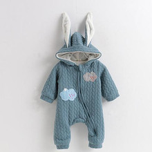Green Hooded Romper Long Sleeve Onesie Baby Winter Cotton