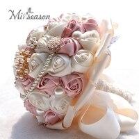 El yapımı Ipek Düğün Buket Çiçek Gelin Taklidi Gelinlik Yapay Çiçekler Diamante İnci Holding Çiçek Düğün