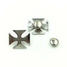50Sets High Quality Cross Spike Studs Spots Garment Rivets Silver Tone DIY Crafts Belt Clothes Making 14x15mm