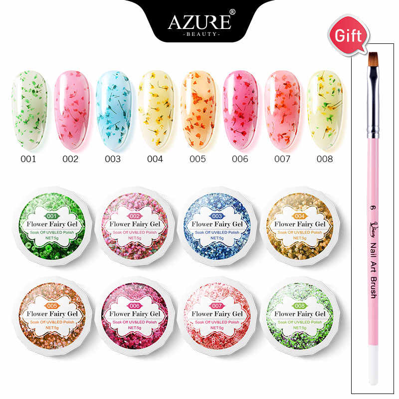 Azure Beauty 9 Pcs/lot Bunga Kering Uv Gel Cat Kuku Nail Art Sikat Kit Rendam Off Bunga LED Nail Varnish hybrid LED Gel Kit