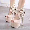 Women Shoes High Heel Black Suede Peep Toe Lace Up Heels Roma High Heels Platform Sandals Ladies Fashion Shoes Escarpins Femme