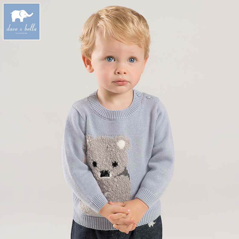DB8256 dave bella autumn knitted sweater infant baby boys long sleeve pullover kids toddler tops children