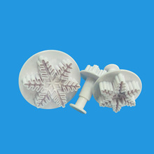 3Pcs Snowflake Cake Decorating Fondant Plunger Cutters Mold Mould Cookies Tools Kitchen Tool