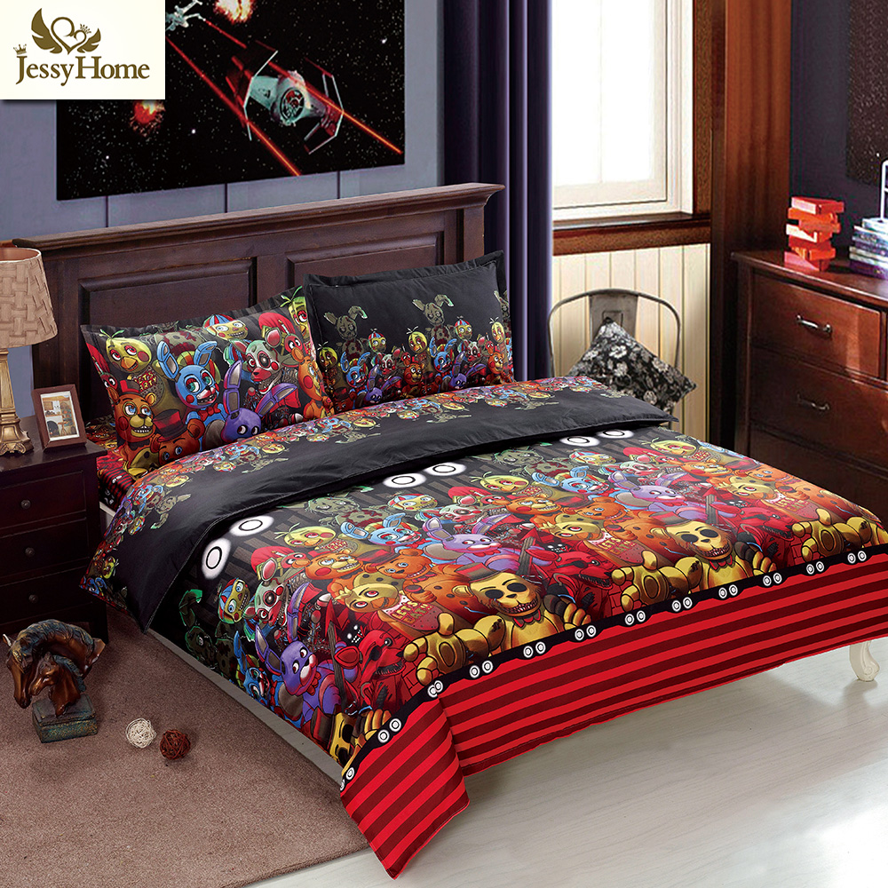 Children FNAFs Bedding Set 4Pcs Bed Linens Reactive Printing Flat Sheet Set Twin Queen King Size Cartoon Duvet Cover Set