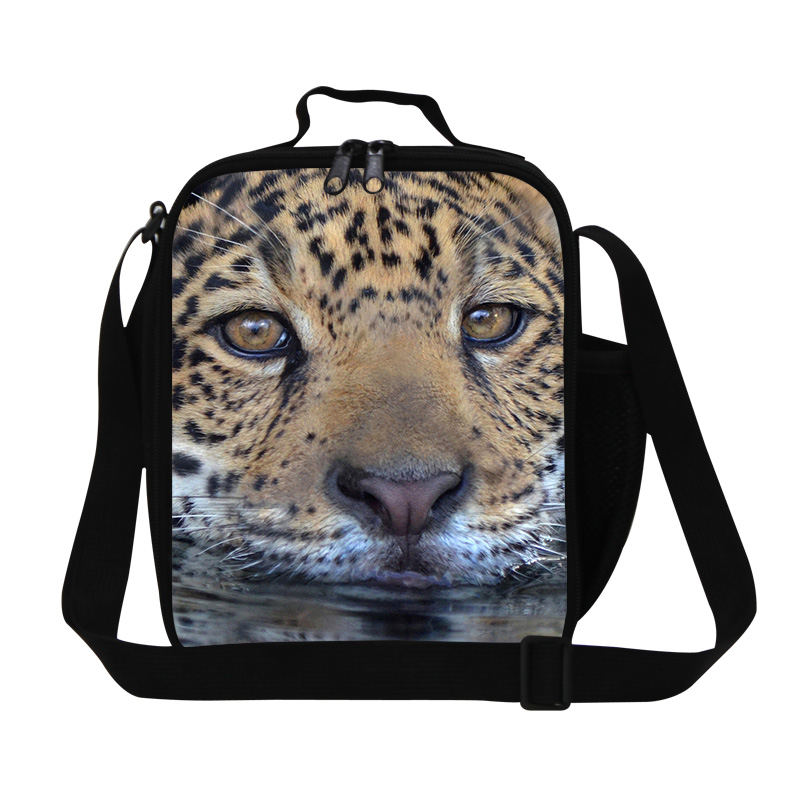 2016 Animal Lunch Bag For Men Thermal Insulated Food Bag For Kids Cool Tiger Head Printing Picnic Lunch Box Student Foods Bags