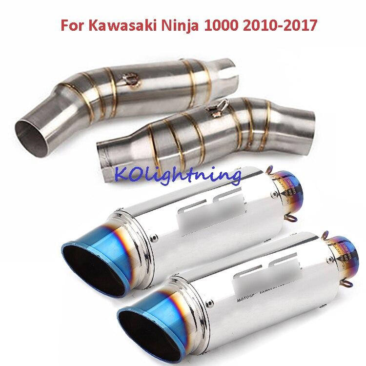 Slip sur Ninja1000 Z1000 Moto Système D'échappement Astuce Tuyau de Liaison Pour Kawasaki Z1000 2010 2011 2012 2013 2014 2015 2016 2017