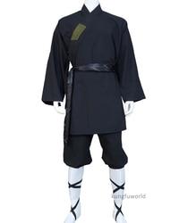 Black Cotton Shaolin Monk Suit Martial arts Tai chi Uniform Wing Chun Kung fu Clothes