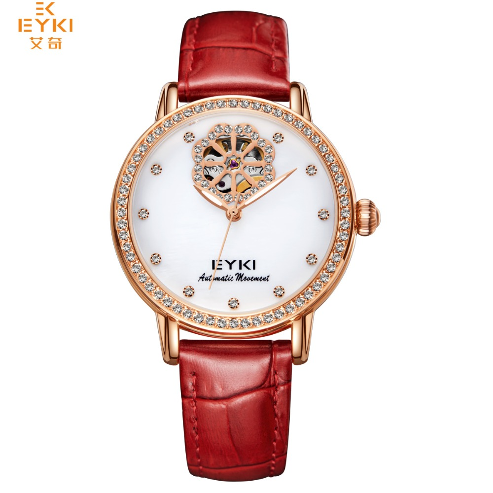EYKI High Quality Skeleton Tourbillon Automatic Mechanical Women Watches Lady Waterproof Hollow Genuine Leather Self Wind Clock eyki h5018 high quality leak proof bottle w filter strap gray 400ml